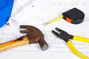 tape measure, hammer,drawing
